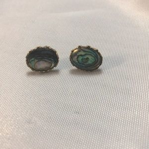 Vintage Gold Tone and Abalone Earrings